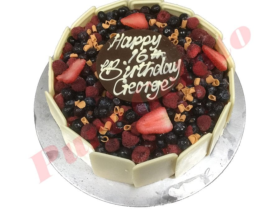 Choc Berry Cake Square all White Choc sides+plaque