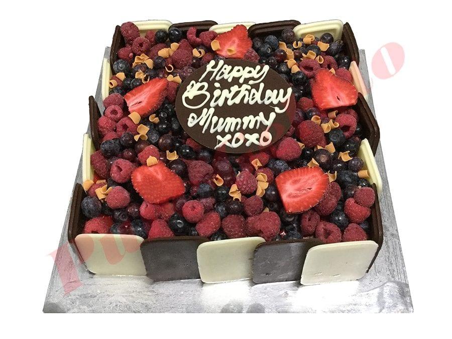 Choc Berry Cake Square+Plaque