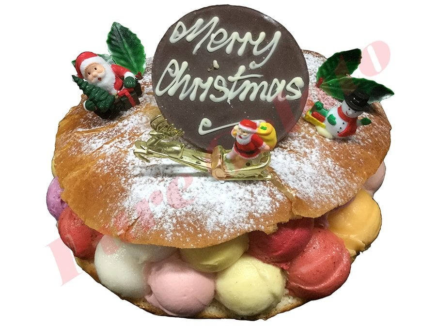 Christmas Cake Brioche with Gelato scoops Santa's Holly+Choc plaque