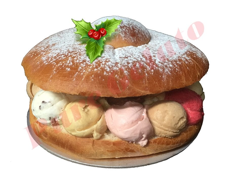 Christmas Cake Brioche with Gelato Scoops+Holly
