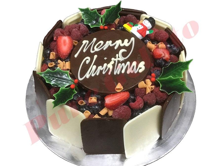 Christmas Cake Choc Berry Round with Holly+Santa