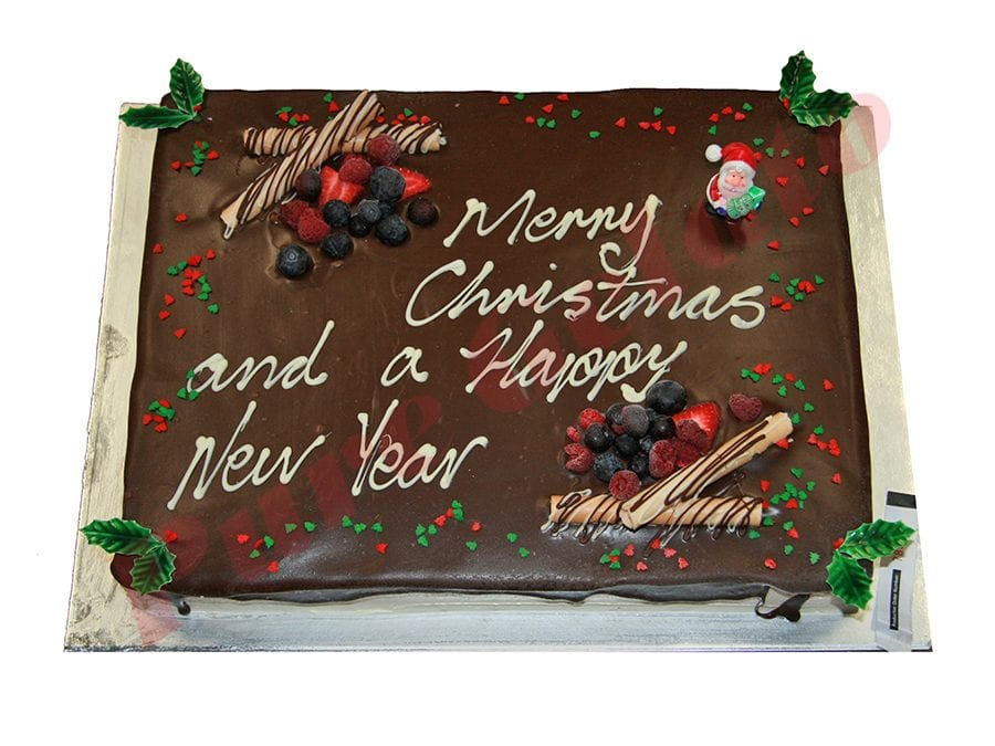 Christmas Cake Choc Drip Rectangle 60 person+Holly Sprinkles