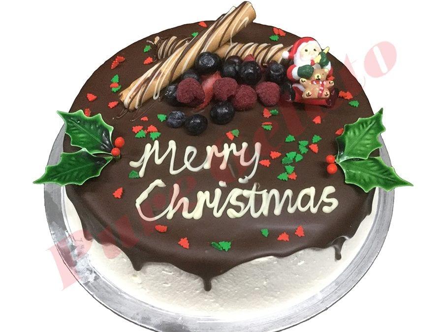 Christmas Cake Choc Drip Round Holly+Sprinkles