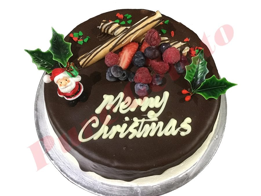 Christmas Cake Choc Drip Round With Holly+Santa
