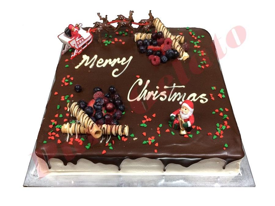 Christmas Cake Choc Drip Square 45 person Santa+Sprinkles