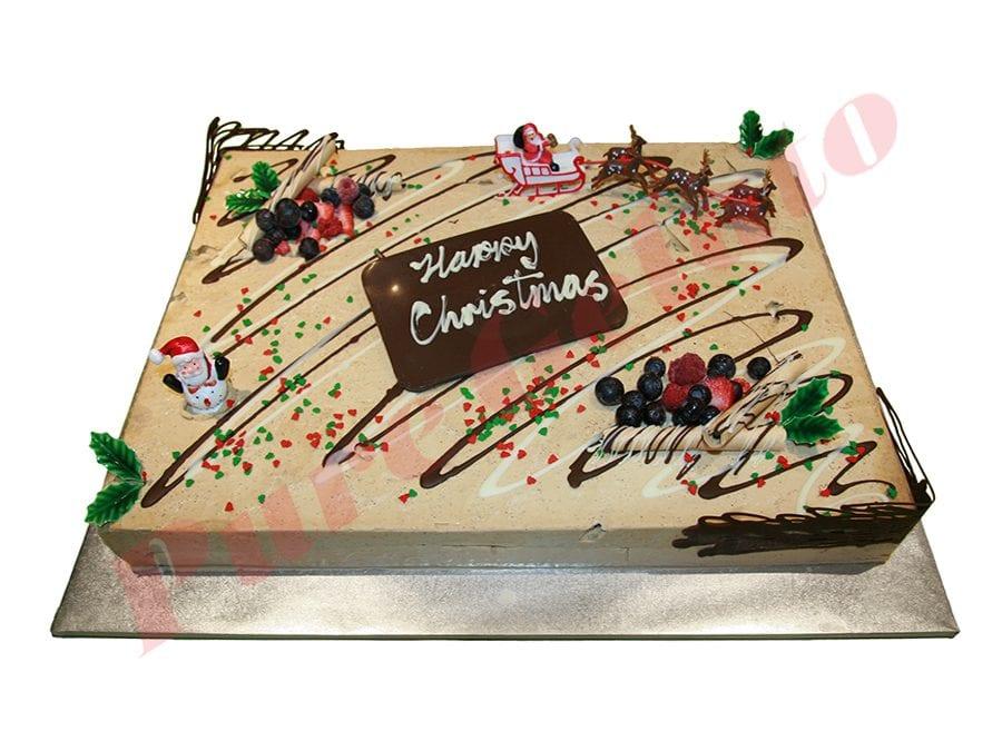 Christmas Cake Non Cream Decorated Rectangle 60 person with Santa's