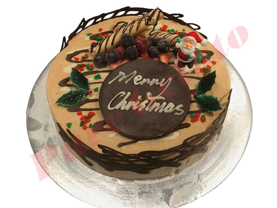 Christmas Cake Non Cream Decorated Round with Holly+Sprinkles