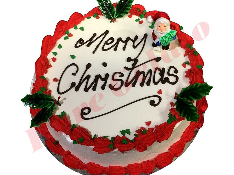 Christmas Cake Red Smooth Cream Decorated with Holly Santa+Sprinkles