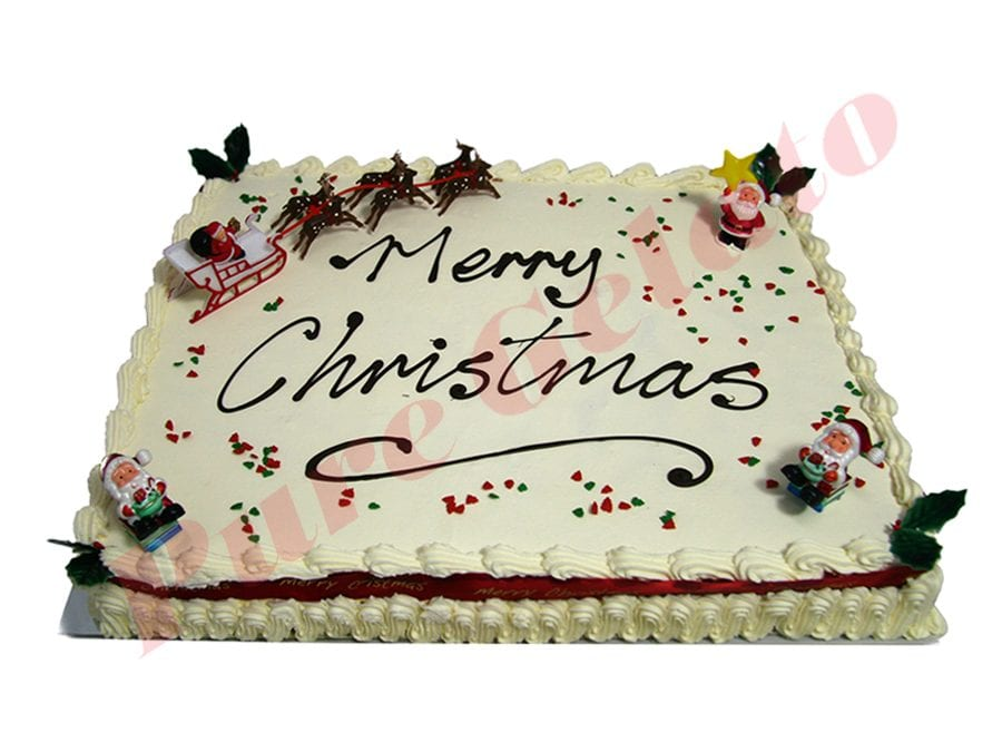 Christmas Cake Traditional Cream Decorated Rectangle Red Ribbon 60 person