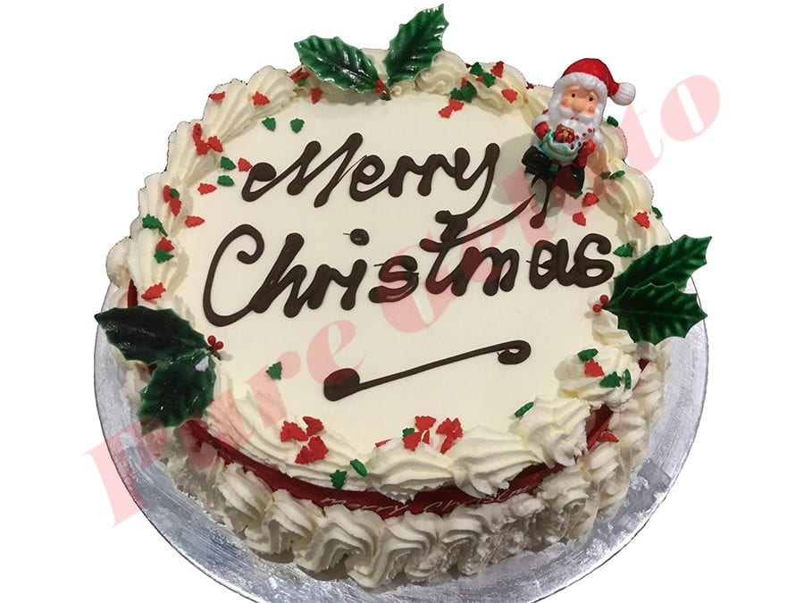 Red Merry Christmas Cake Ribbon