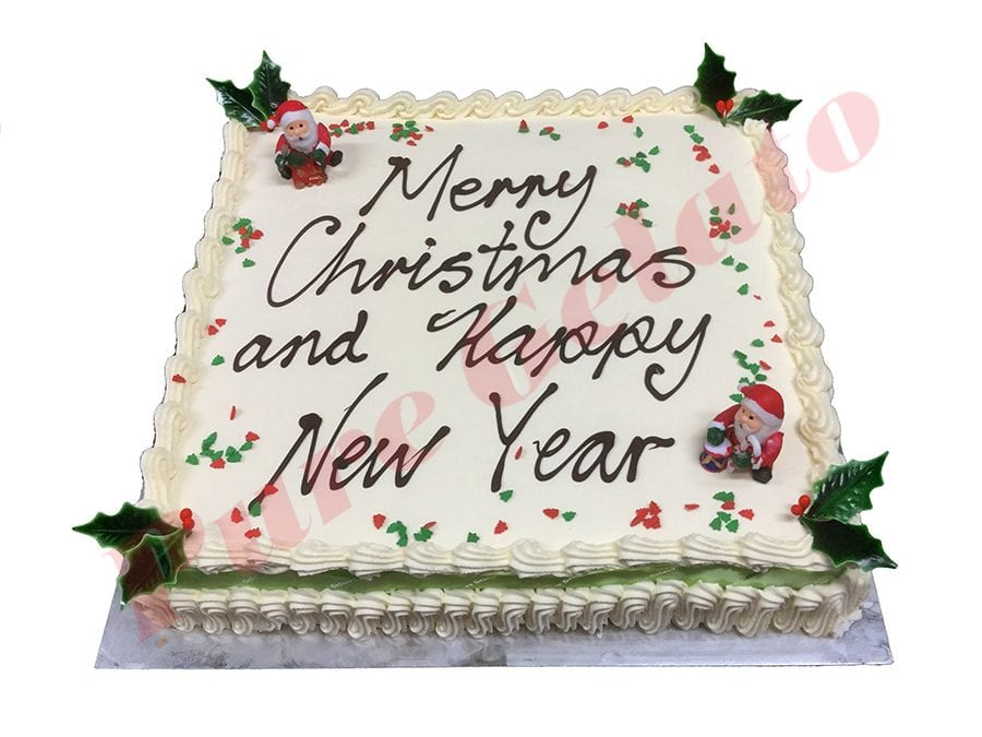 Christmas Cake Traditional Cream Decorated Square Green Ribbon