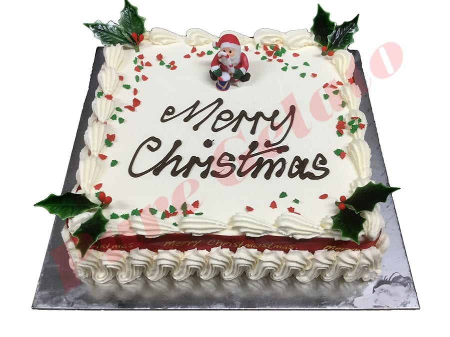 Christmas Cake Traditional Cream Decorated Square Red Ribbon