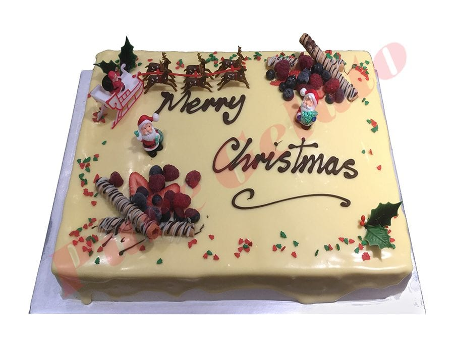 Christmas Cake White Choc Drip Rectangle 60 person With Holly+Sprinkles