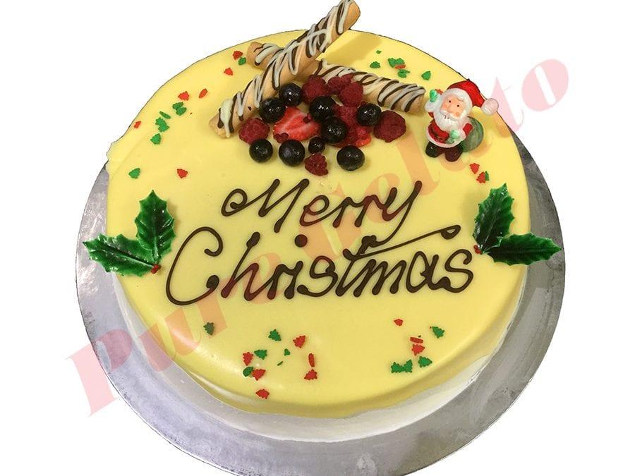 Christmas Cake White Choc Drip Round With Holly+Sprinkles