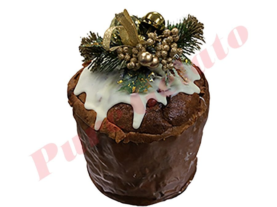 Christmas Gelato Panettone Hazelnut Gelato filled with White Choc Drip+Holly