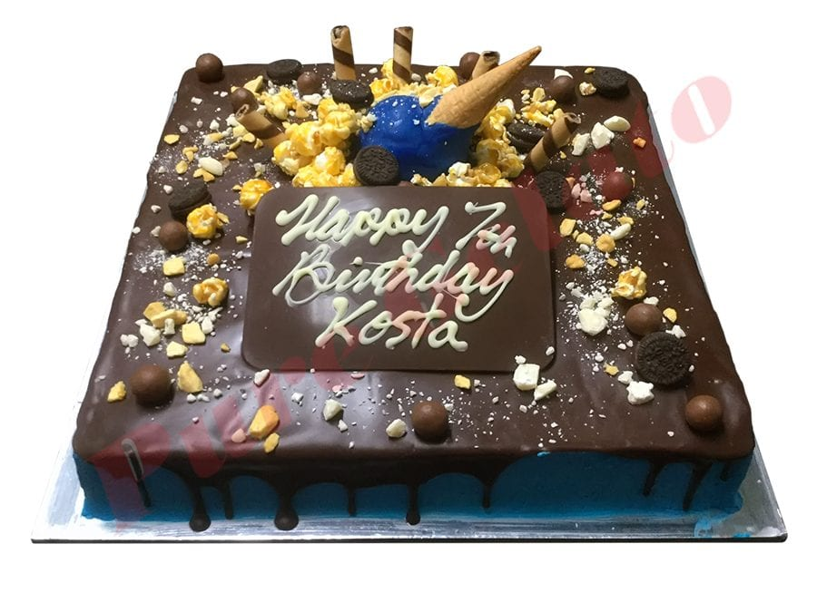 Cluster Cake Square Blue Cream+Upside down Cone+text