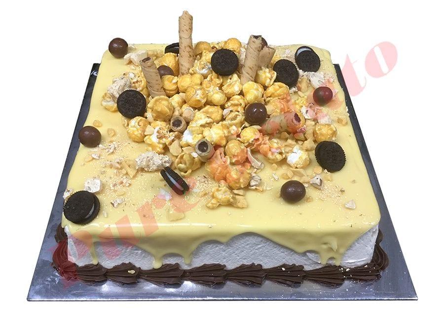 Cluster Cake Square White Choc Drip