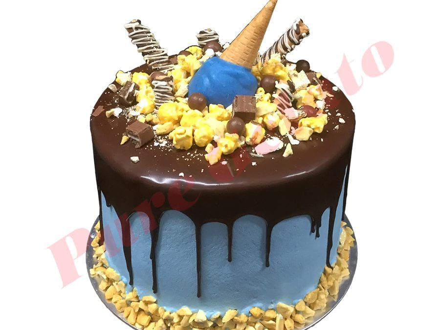 Cluster Cake Triple Stack Choc Drip Blue Cream+Upside down Cone