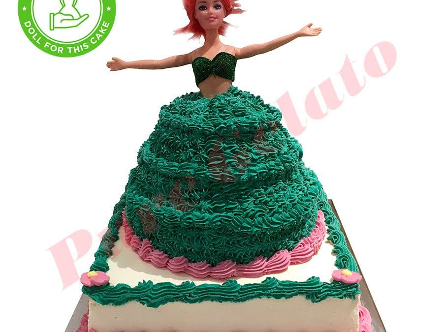 DOLL-CAKE-2-TIER-ARIEL-GREEN-DRESS+PINK-BOTTOM-PIPING