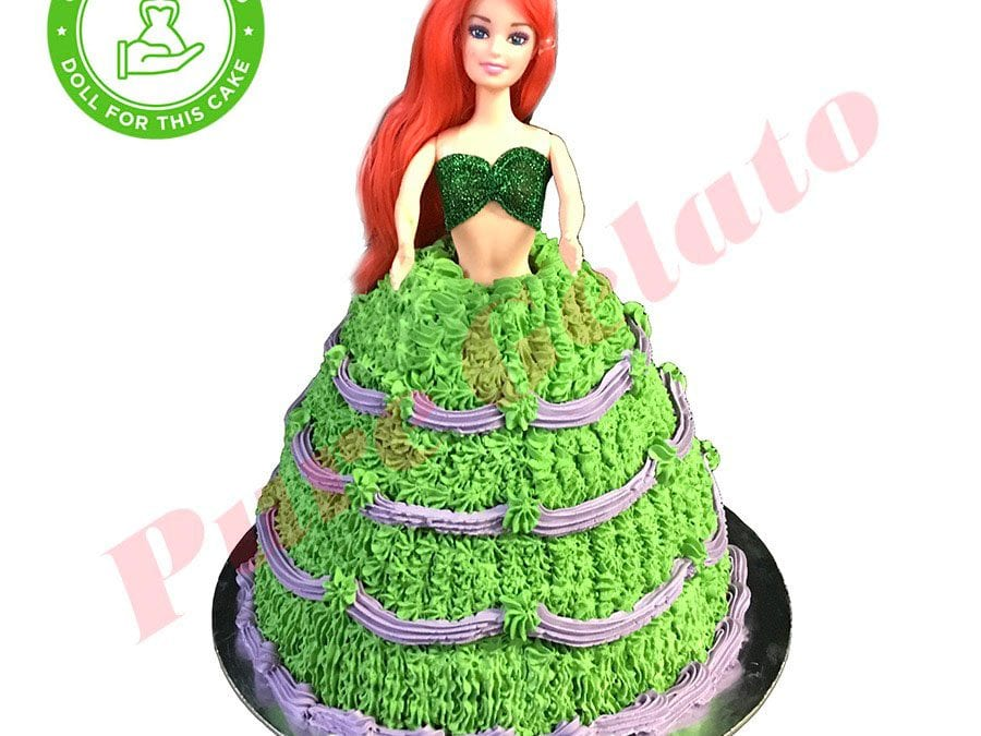 DOLL-CAKE-ARIEL-GREEN-DRESS-PURPLE-PIPING