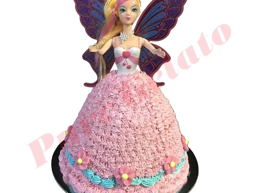 Doll Cake Fairy Pink Dress Blue bottom Piping+Pink Flowers