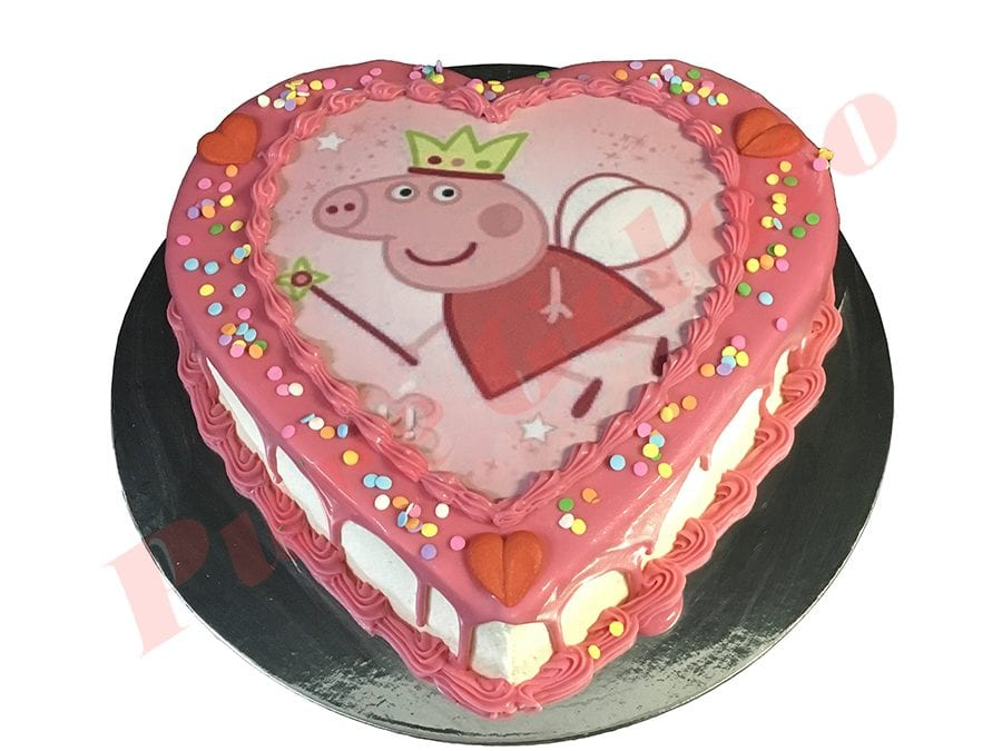 Heart Cake Pink Choc Drip pink piping+Peppa Pig scan