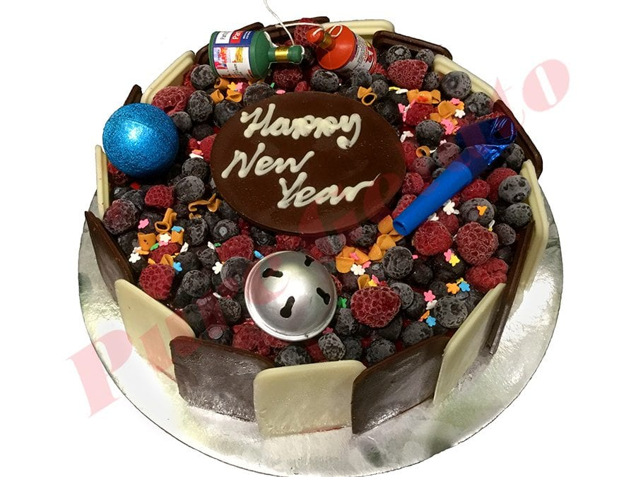 New Years Cake Choc Berry Round with Party Decorations