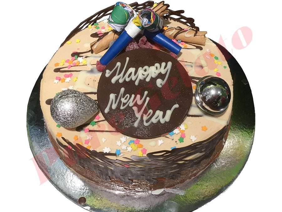 New Years Cake Choc Non Cream Decorated Round with Party Decorations