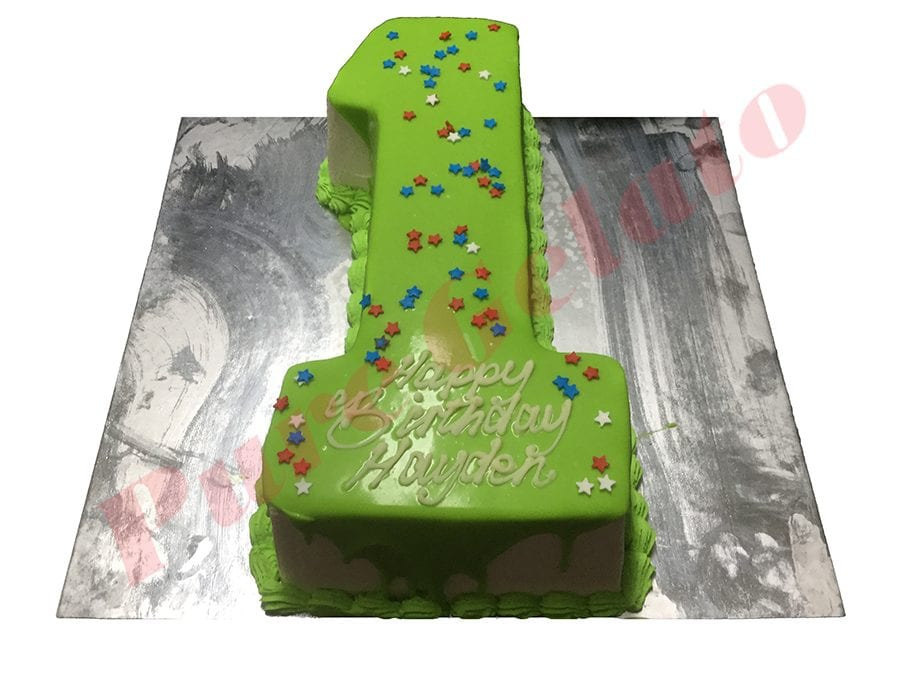 Numeral Cake 1 Green Choc drip piping+star sprinkles