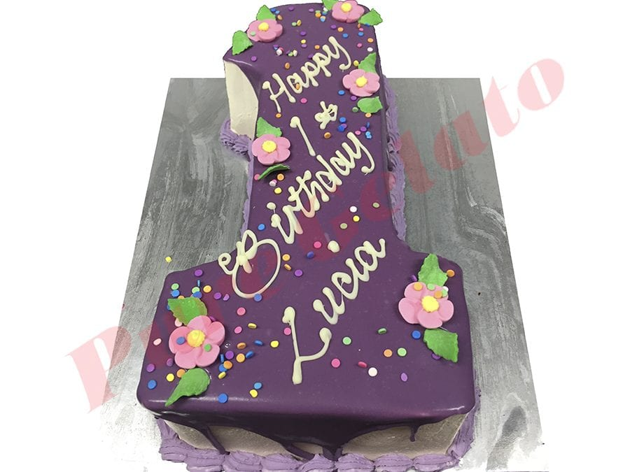 Numeral Cake 1 Purple Choc drip lilac piping+sprinkles