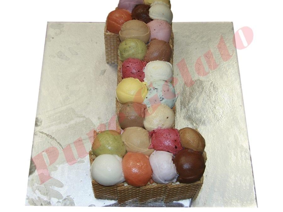 Numeral Cake 1 Scoop Decorated