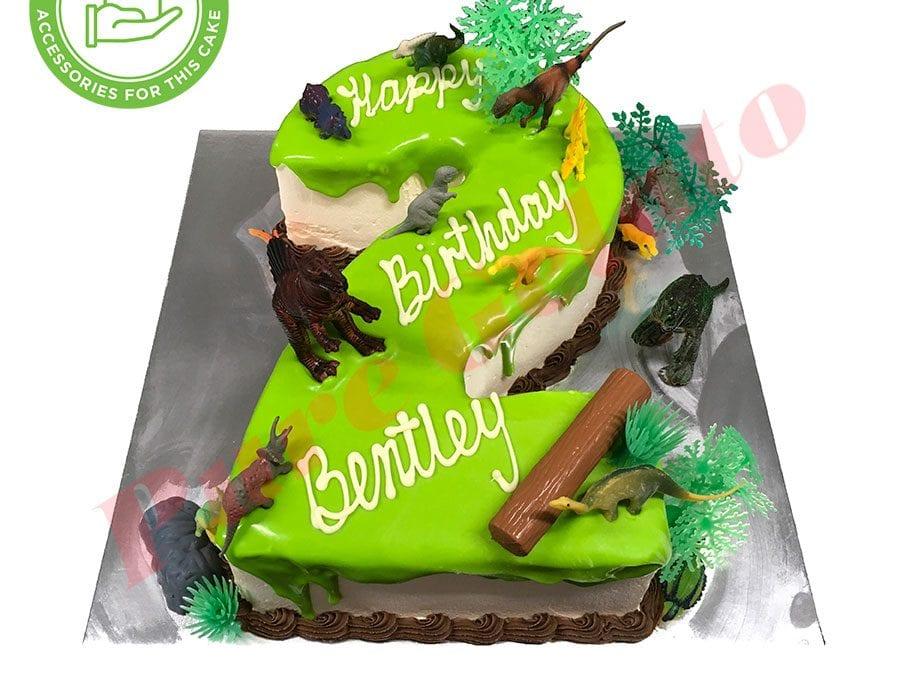 Numeral Cake 2 Green Choc drip choc piping+customers acc