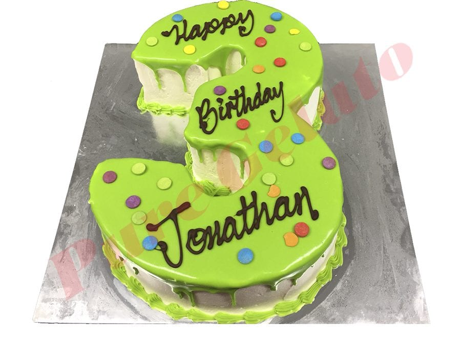 Numeral Cake 3 Lime Green Choc drip Lime piping+dot sprinkles