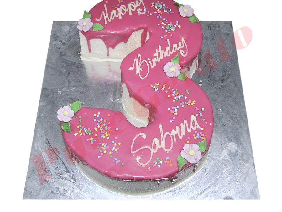 Numeral Cake 3 Pink Choc drip+sprinkles