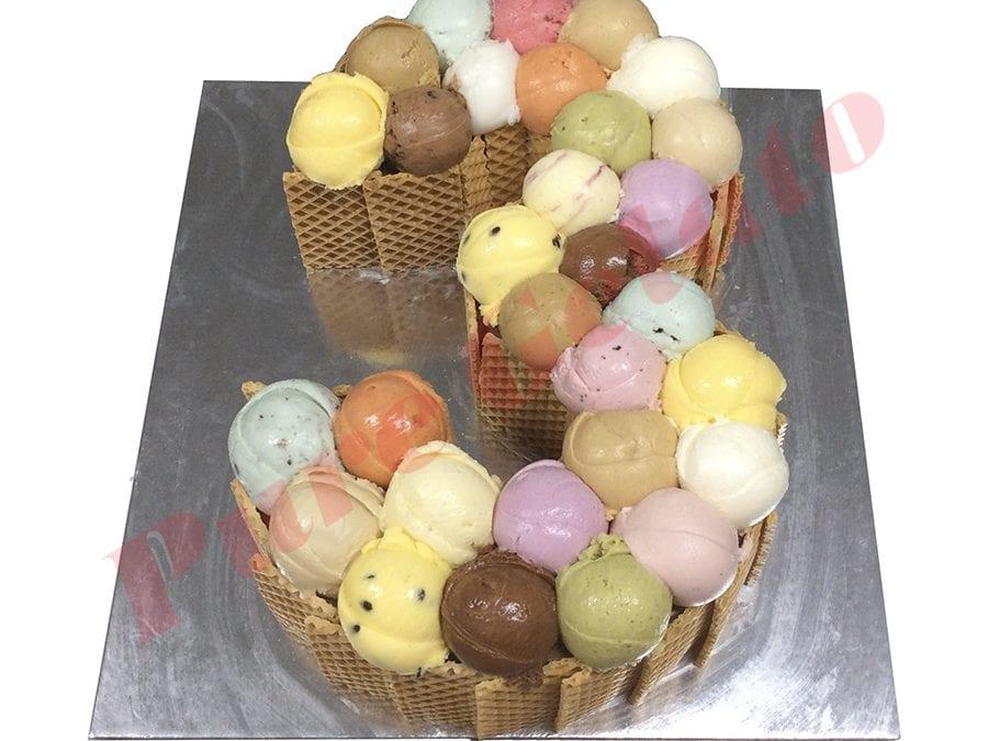 Numeral Cake 3 Scoop decorated