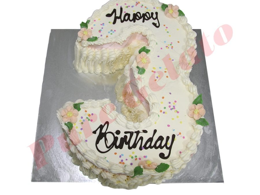 Numeral Cake 3 Traditional Decoration+baby  pink ribbon