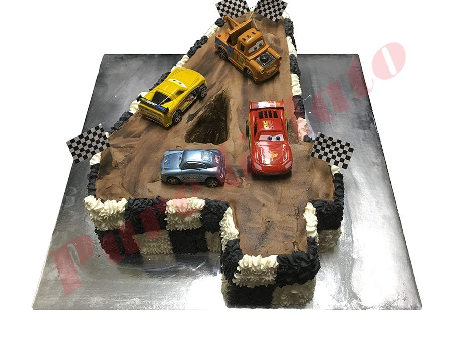Numeral Cake 4 brown cream track Black+white piping+Cars