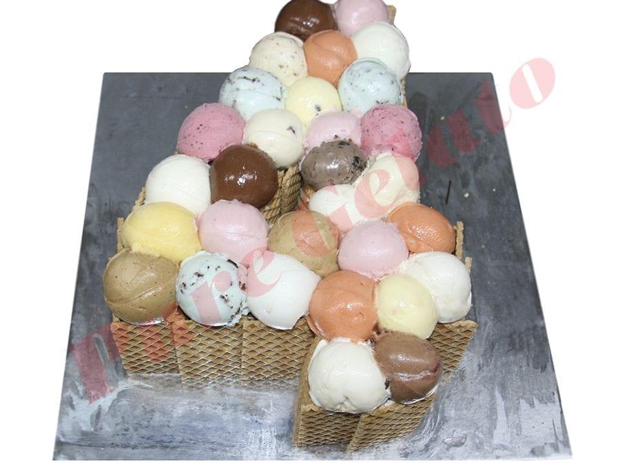 Numeral Cake 4 Scoop decorated