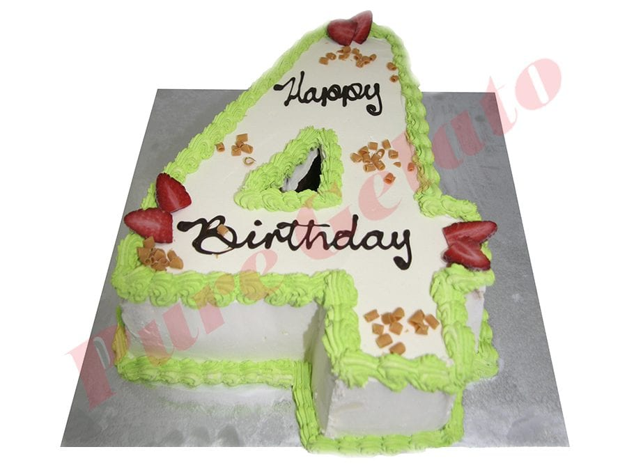 Numeral Cake 4 Smooth Cream lime green piping