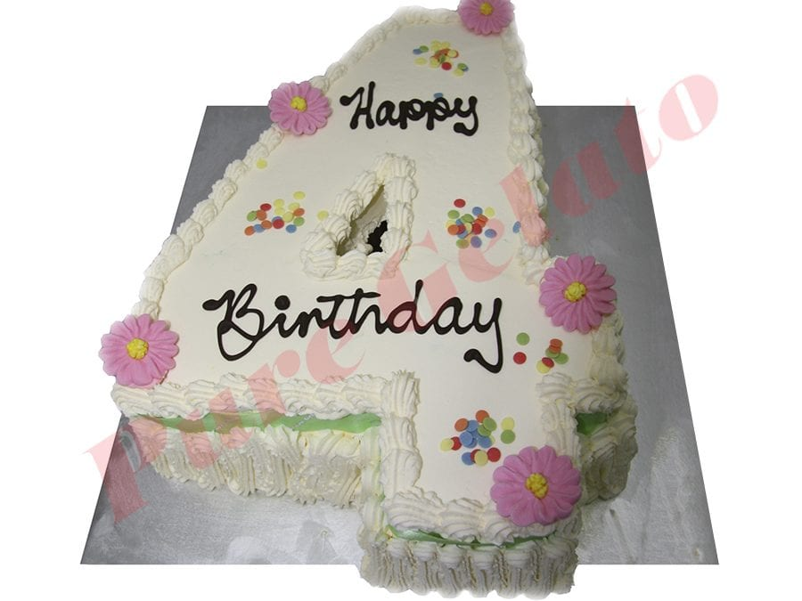 Numeral Cake 4 Traditional Decoration+green ribbon