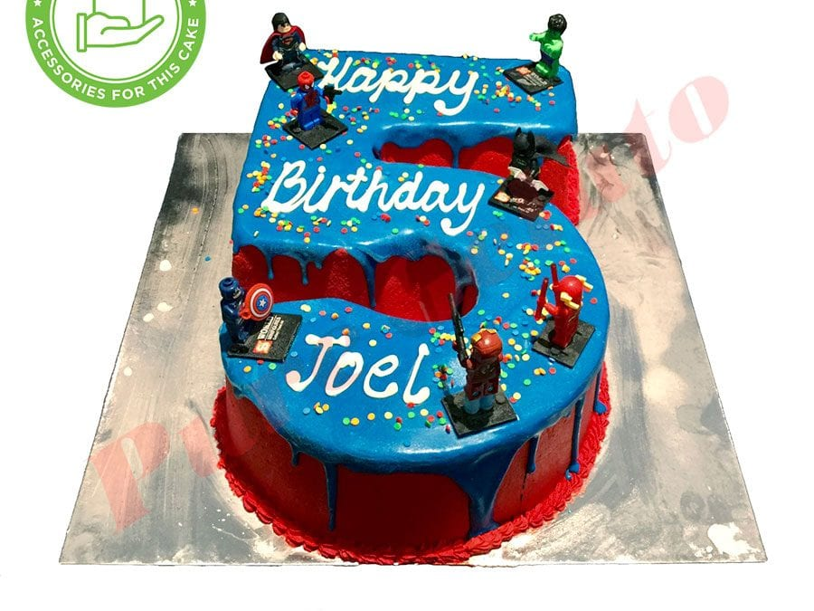 Numeral Cake 5 blue Choc drip red cream+customers acc