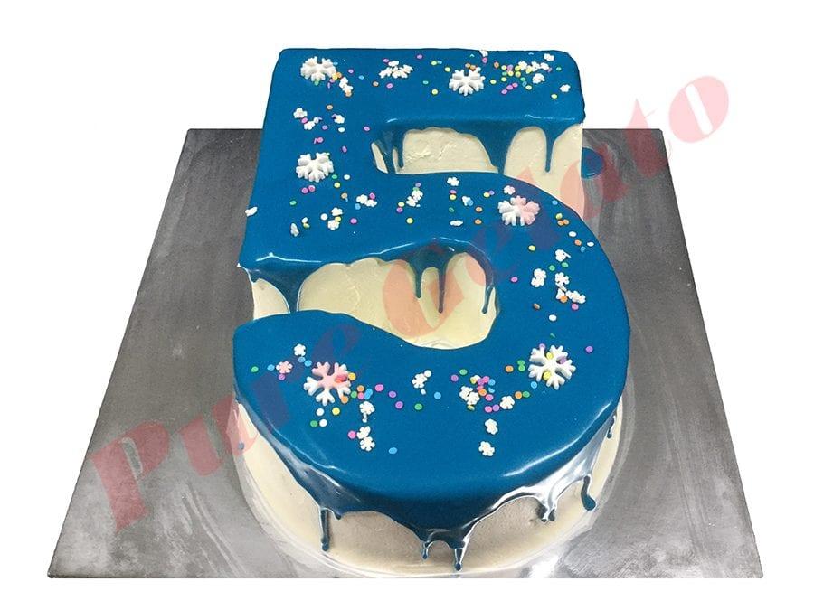 Numeral Cake 5 dark blue Choc drip+snow flakes+sprinkles