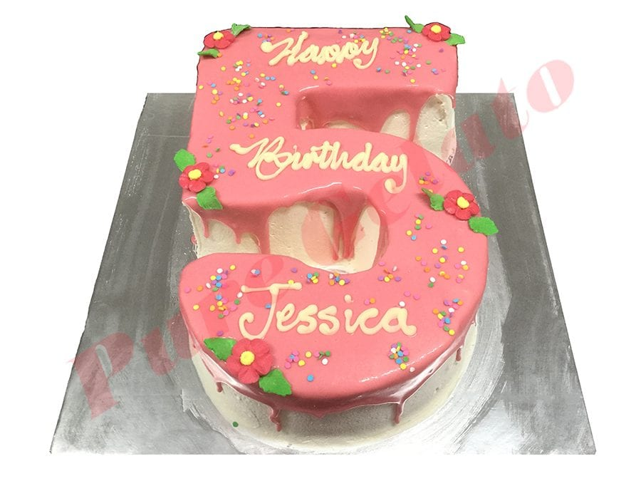 Numeral Cake 5 light Pink Choc drip+sprinkles