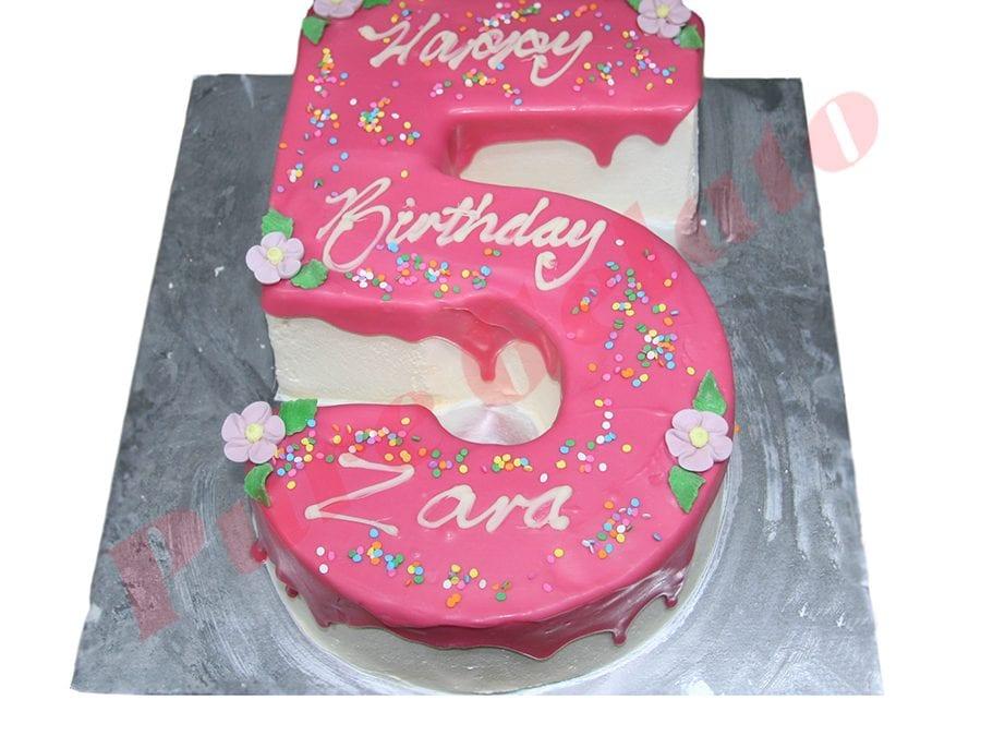 Numeral Cake 5 Pink Choc drip+sprinkles