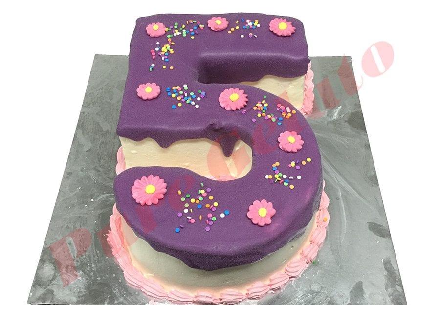 Numeral Cake 5 Purple Choc drip pink piping+sprinkles