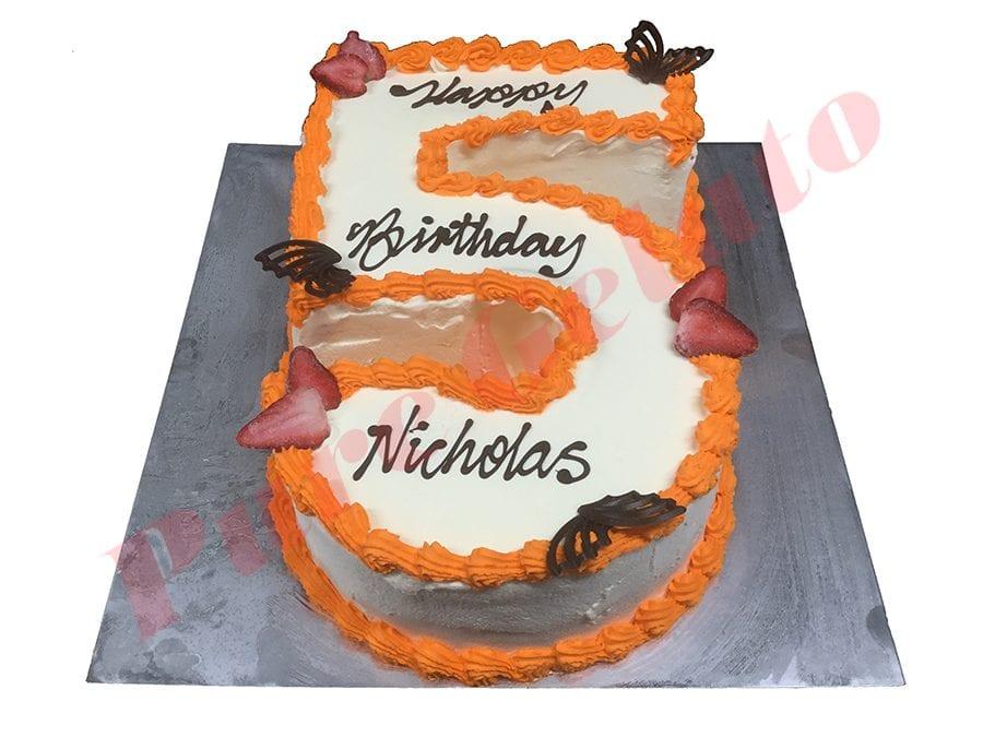 Numeral Cake 5 Smooth Cream orange piping+choc fans