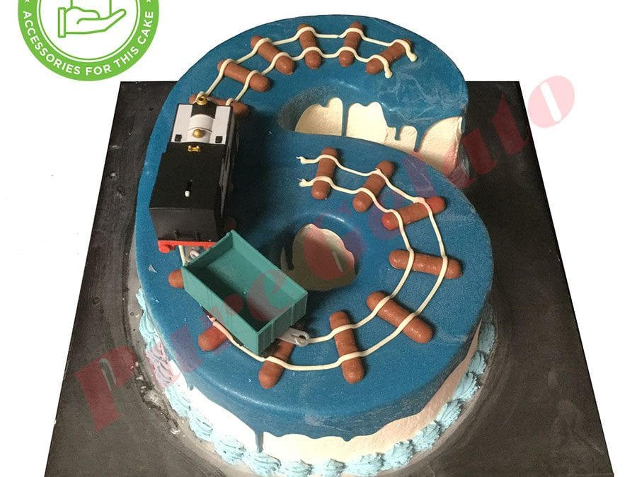 Numeral Cake 6 Blue Choc drip baby blue piping+train track Customers Acc