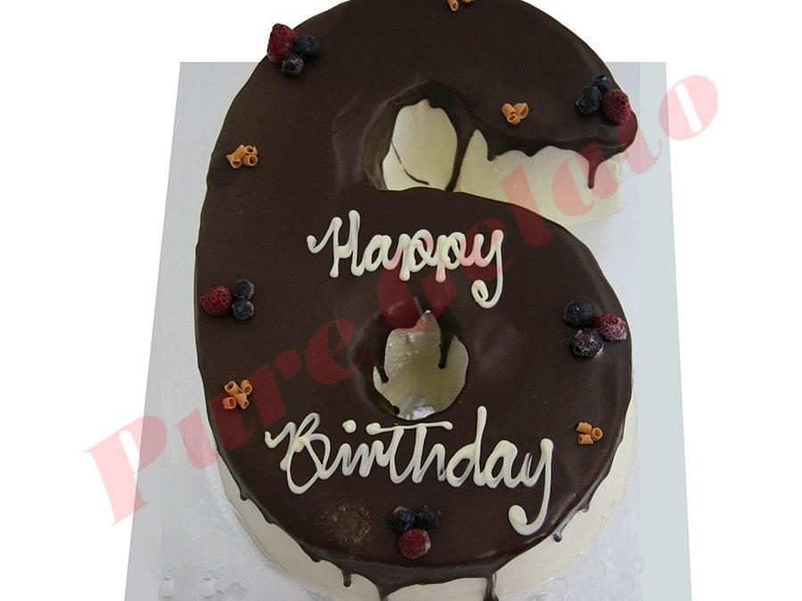 Numeral Cake 6 Chocolate drip+berries
