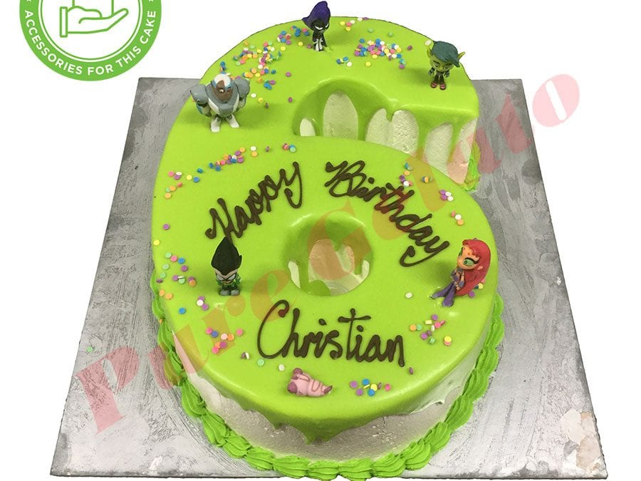 Numeral Cake 6 green Choc drip green piping+customers acc