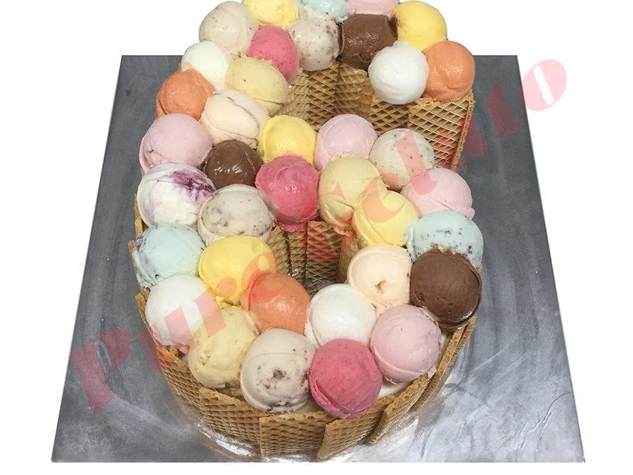 Numeral Cake 6 Scoop decorated